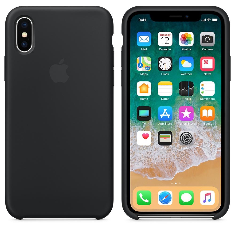 Originální silikonový kryt Apple iPhone X - Černý