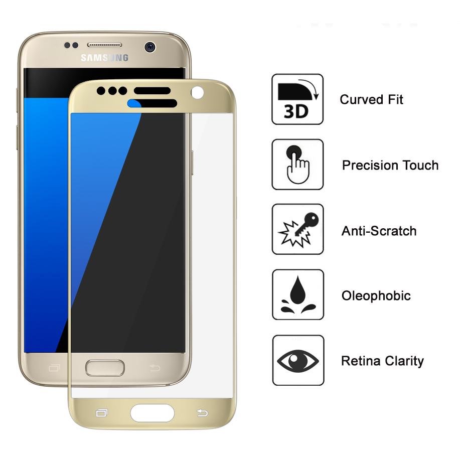 3D ochranné sklo Carbon Fiber na displej Samsung Galaxy S7 - Zlaté