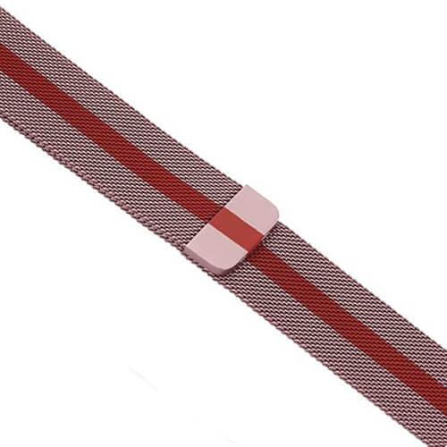 Řemínek MILANESE LOOP pro Apple Watch Series 3/2/1 38mm - Růžový s červeným pruhem