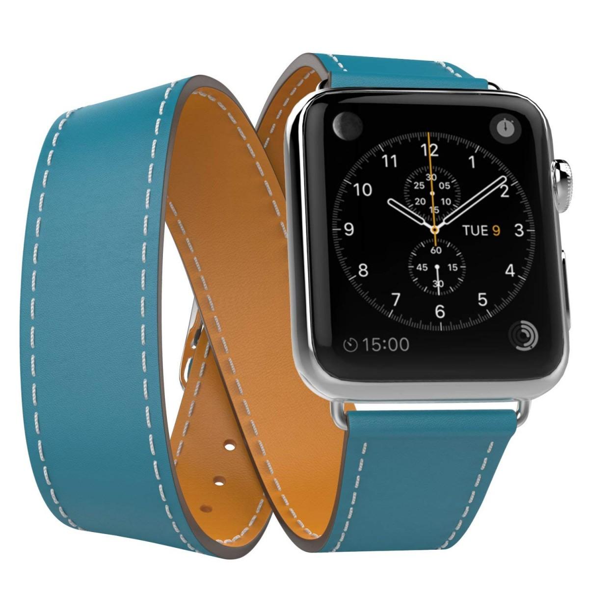 Řemínek Double Tour pro Apple Watch Series 3/2/1 (42mm) - Modrý