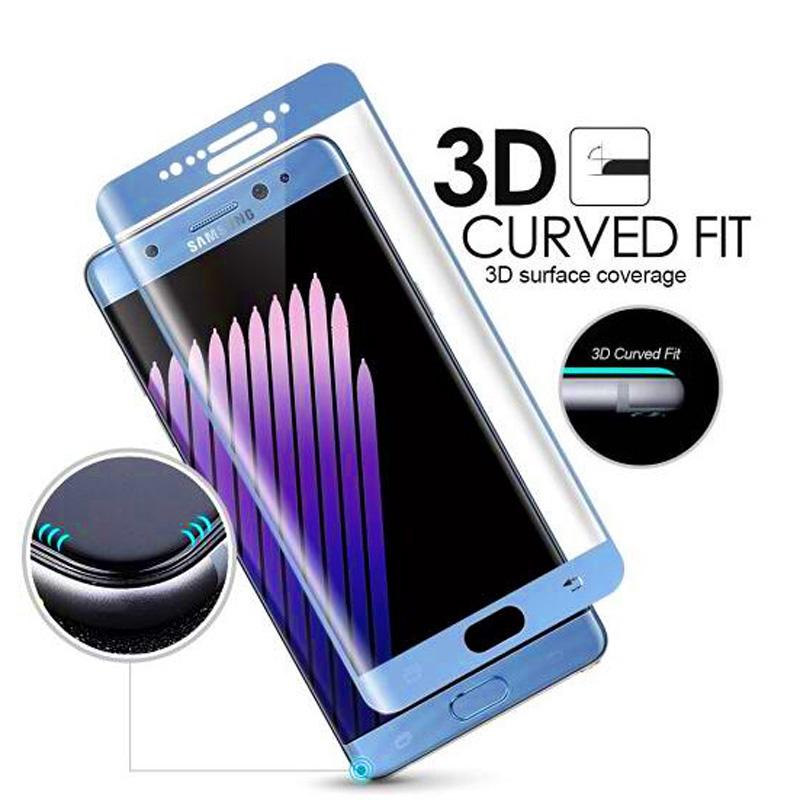 3D tvrzené sklo 9H pro Samsung Galaxy Note 7 - Modré (blue)