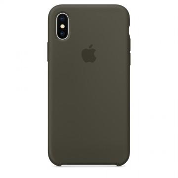 Originální silikonový kryt Apple na iPhone X - Tmavě olivový