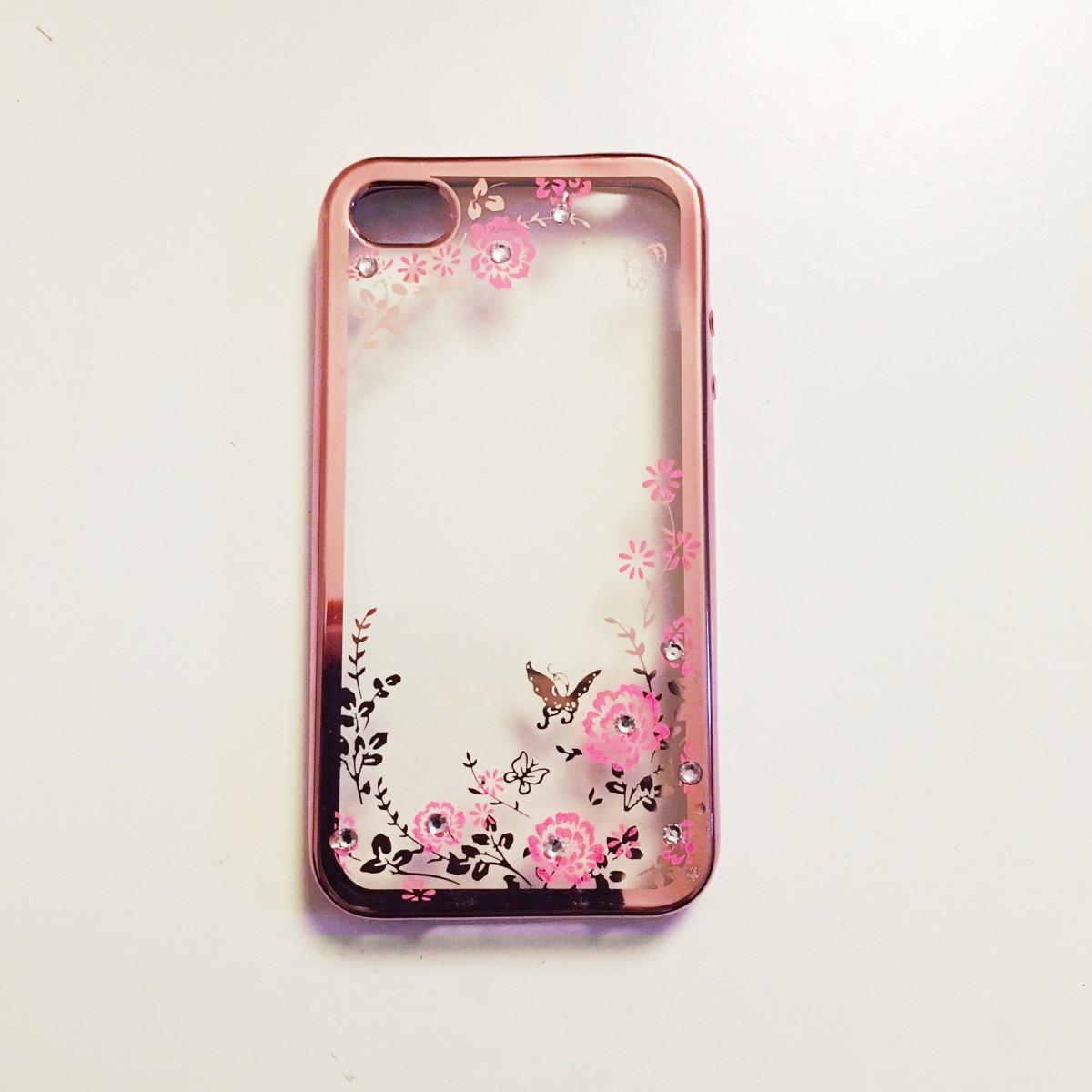 Obal / kryt Crystal Flowers pro iPhone 4s / 4 - Růžově zlatý (rose gold)