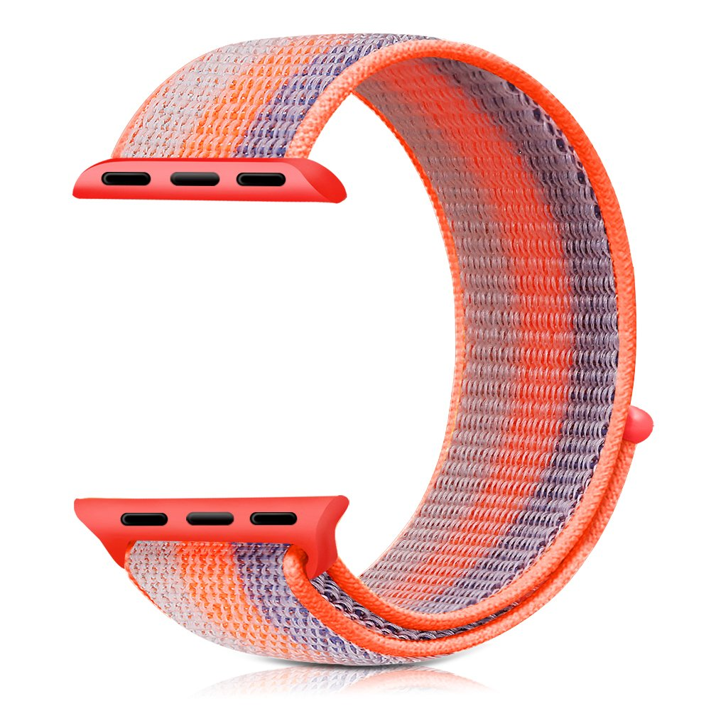 Řemínek NYLON STRIPES pro Apple Watch Series 4 (40mm) - Oranžový