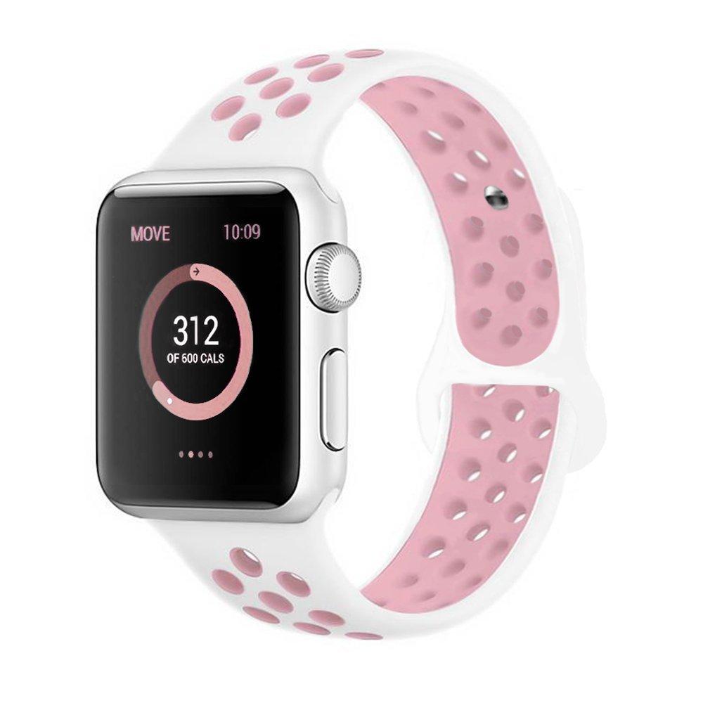 Řemínek SPORT pro Apple Watch Series 3/2/1 38mm - Bílý/Růžový