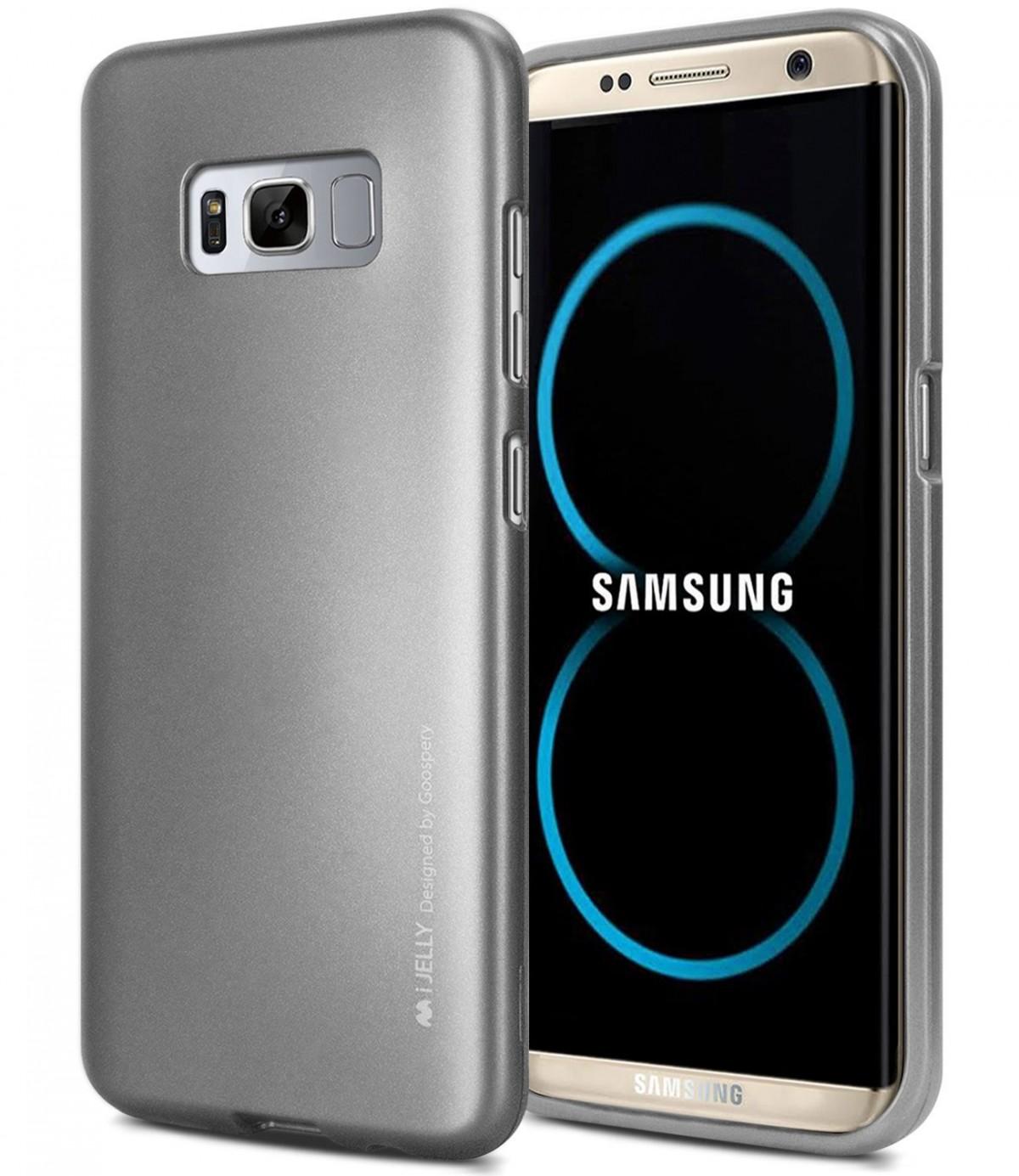 Silikonové barevné obaly / kryty Goospery Mercury pro Samsung Galaxy S8 - iJelly Metal - Šedý