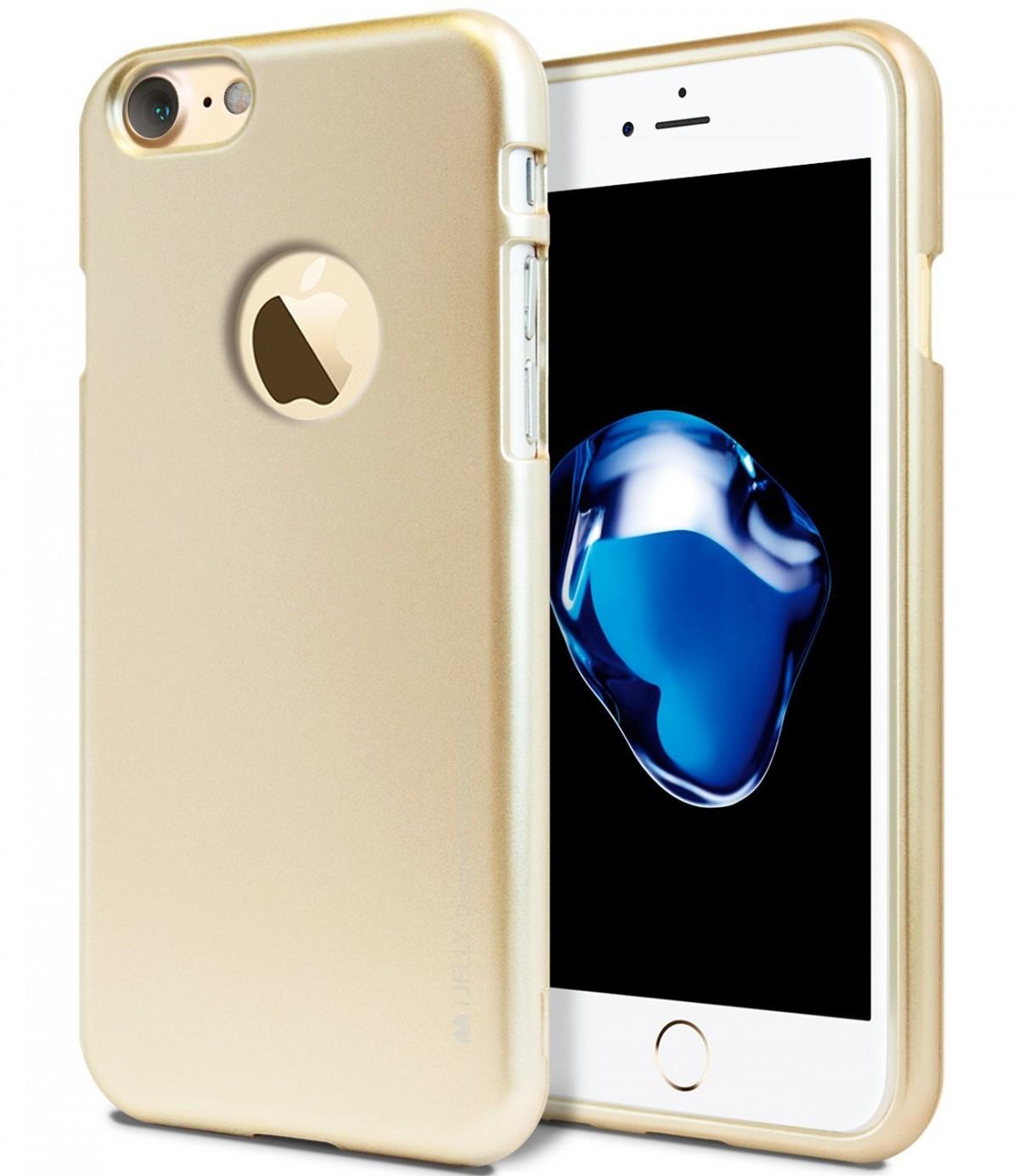 Tenké silikonové obaly / kryty Goospery Mercury pro Apple iPhone 7 - iJelly Metal - Zlatý / Gold