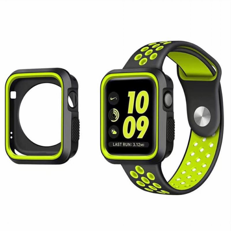 Pouzdro SPORT na Apple Watch 42mm Series 1, 2, 3 - Černo-limetkové