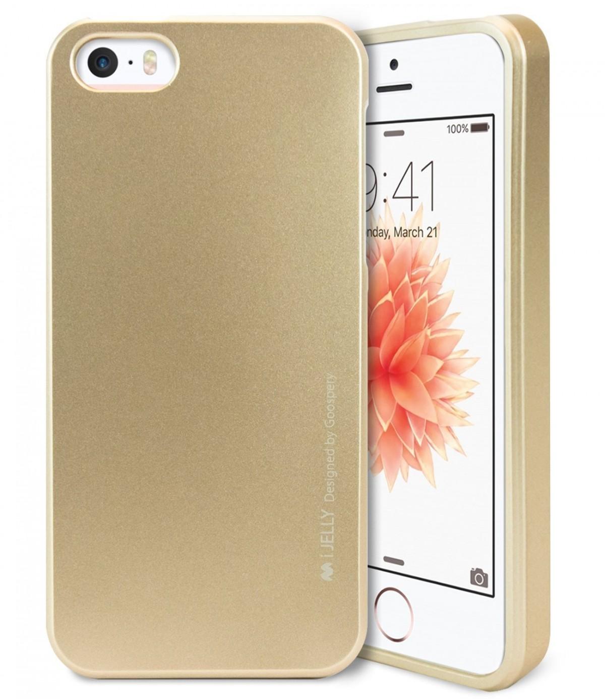 Silikonový obal / kryt iJelly od Goospery Mercury pro Apple iPhone SE / 5s / 5 - Metalicky zlatý