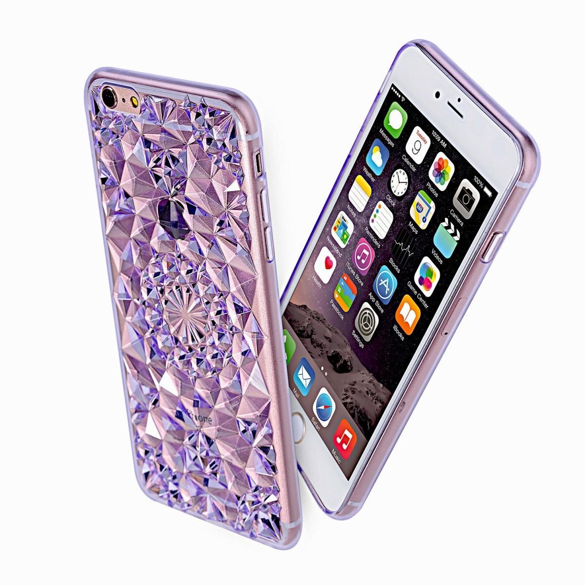Kryt 3D Flowers & Crystals pro iPhone SE / 5s / 5 - Fialový