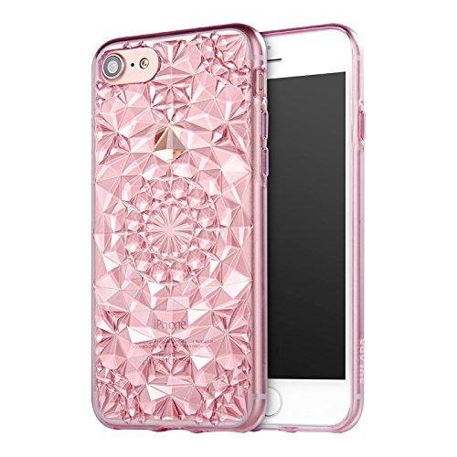 Kryt 3D Flowers & Crystals pro iPhone 7 - Růžový