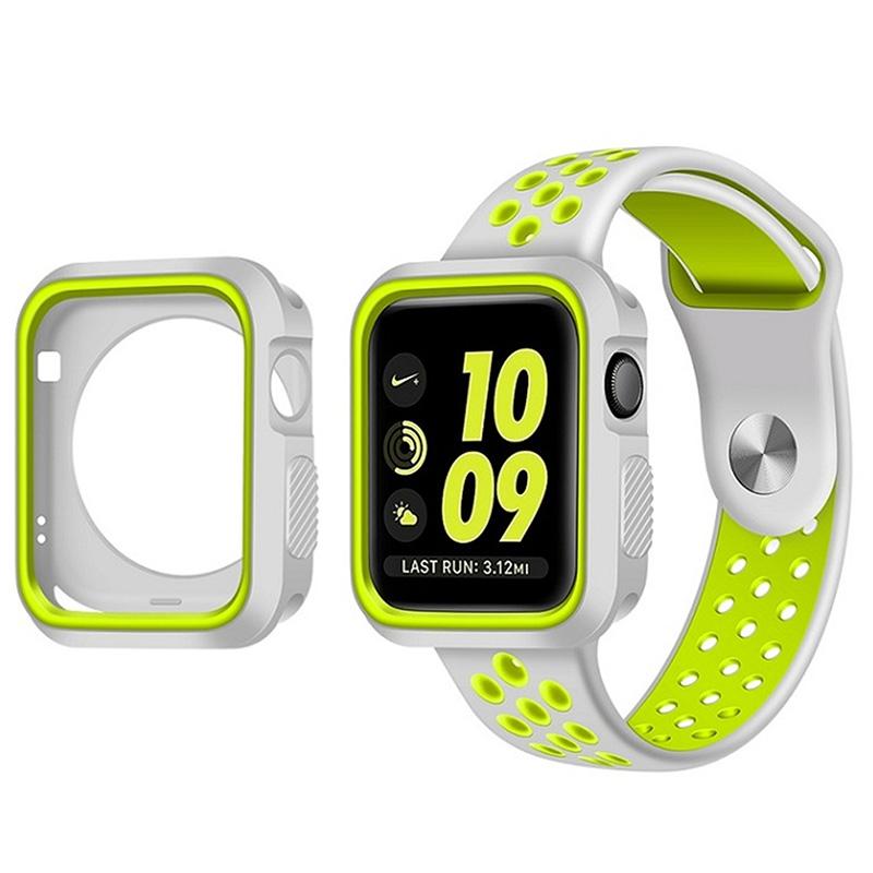Pouzdro SPORT na Apple Watch 42mm Series 1, 2, 3 - Šedo-limetkové