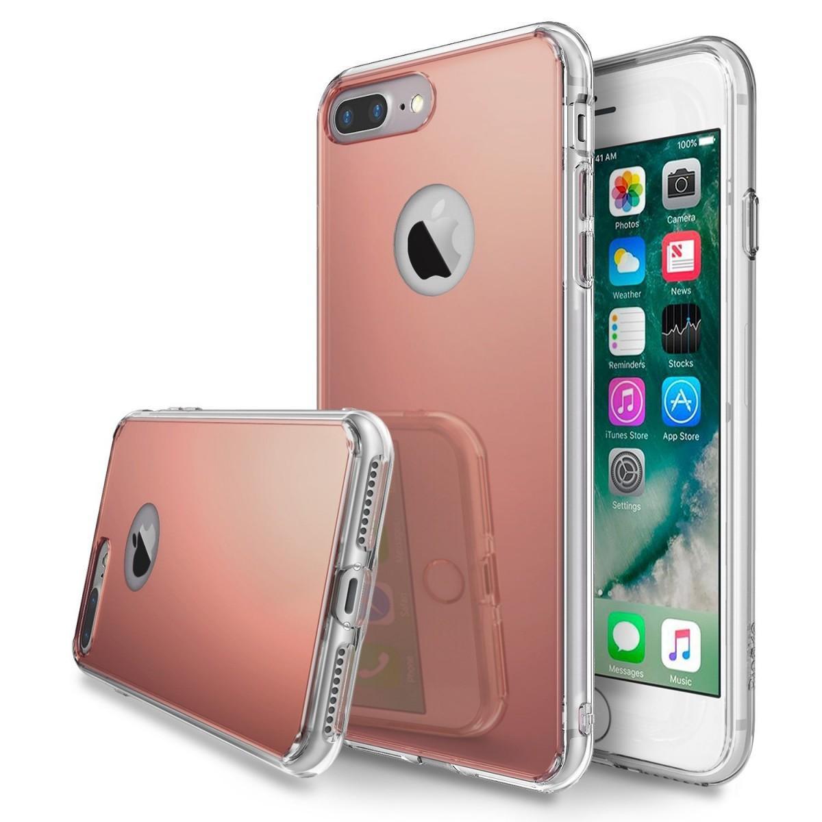 Zrcadlový kryt My Mirror pro iPhone 7 Plus - Růžově zlatý (rose gold)