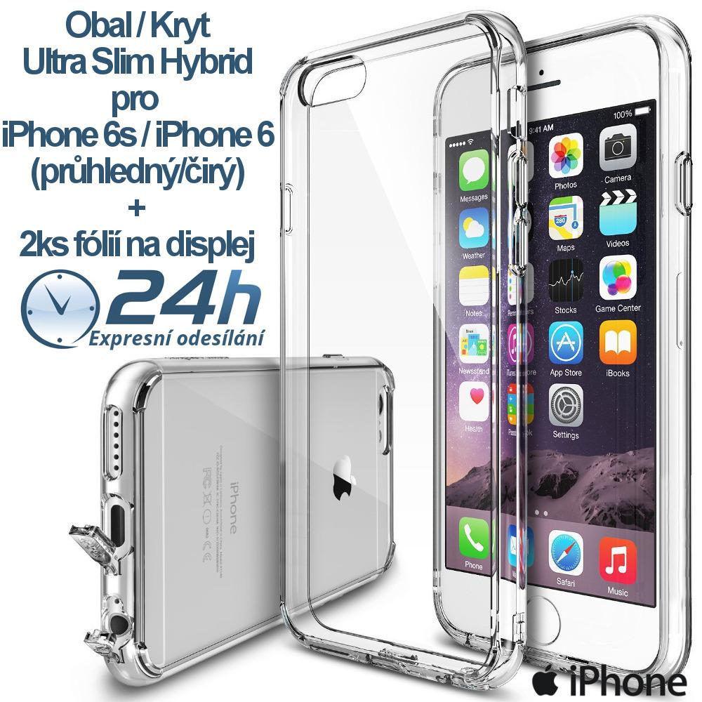Průhledný čirý kryt na iPhone 6s / 6 +2ks fólií