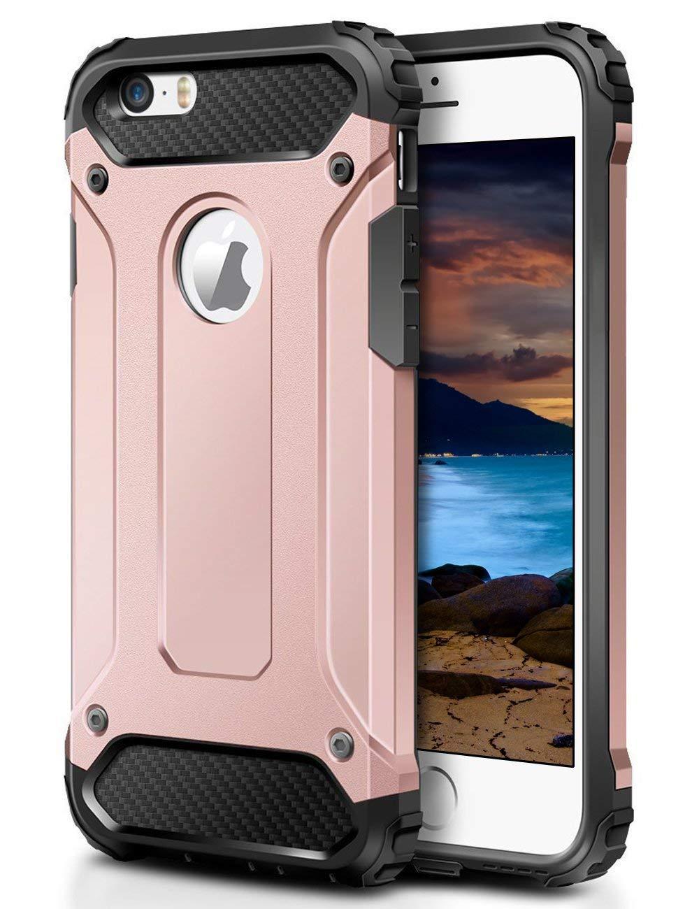 Pouzdro Forcell Armor Case na iPhone SE/5s/5 - Růžově zlaté