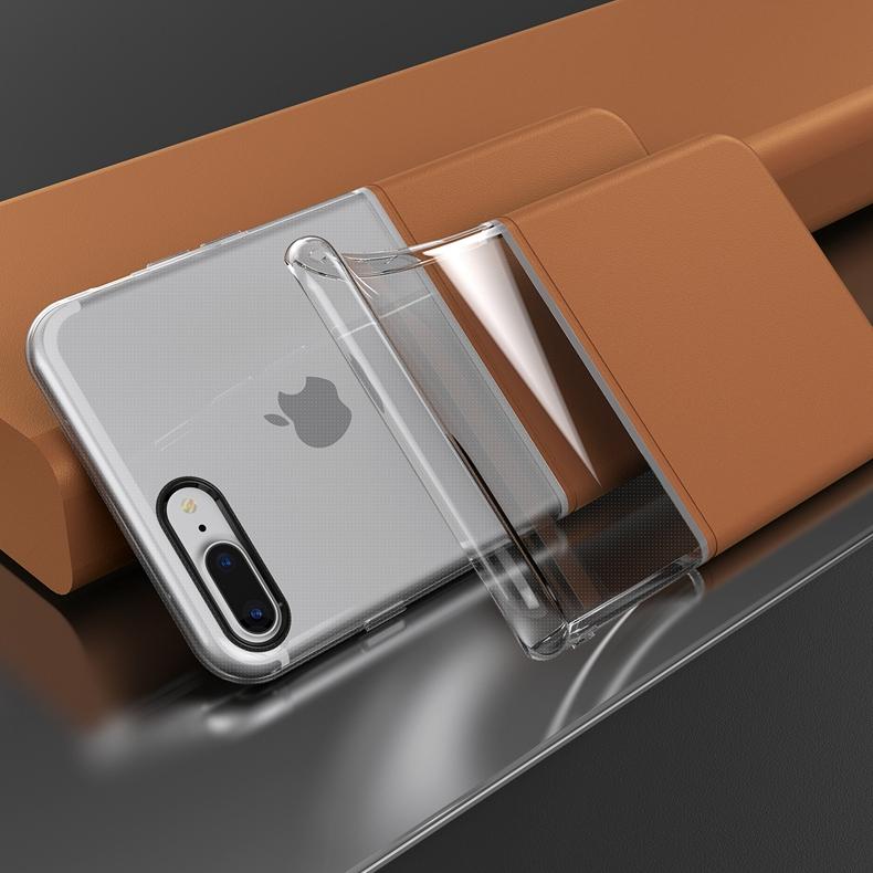 Elegantní kryty DOUBLE pro mobily Apple iPhone - iPhone 7 Plus/8 Plus (hnědý)