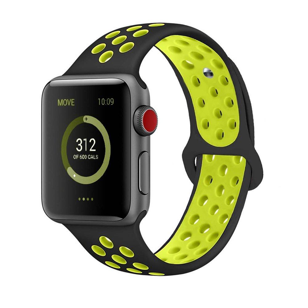 Řemínek SPORT pro Apple Watch Series 3/2/1 38mm - Černý/Volt
