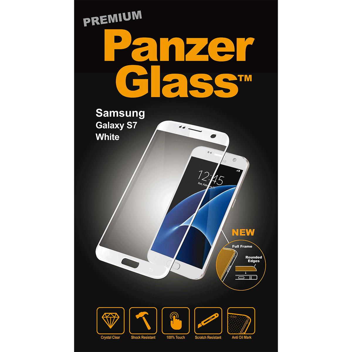 Ochranné sklo PanzerGlass PREMIUM Full Frame na Samsung Galaxy S7 - BÍLÉ