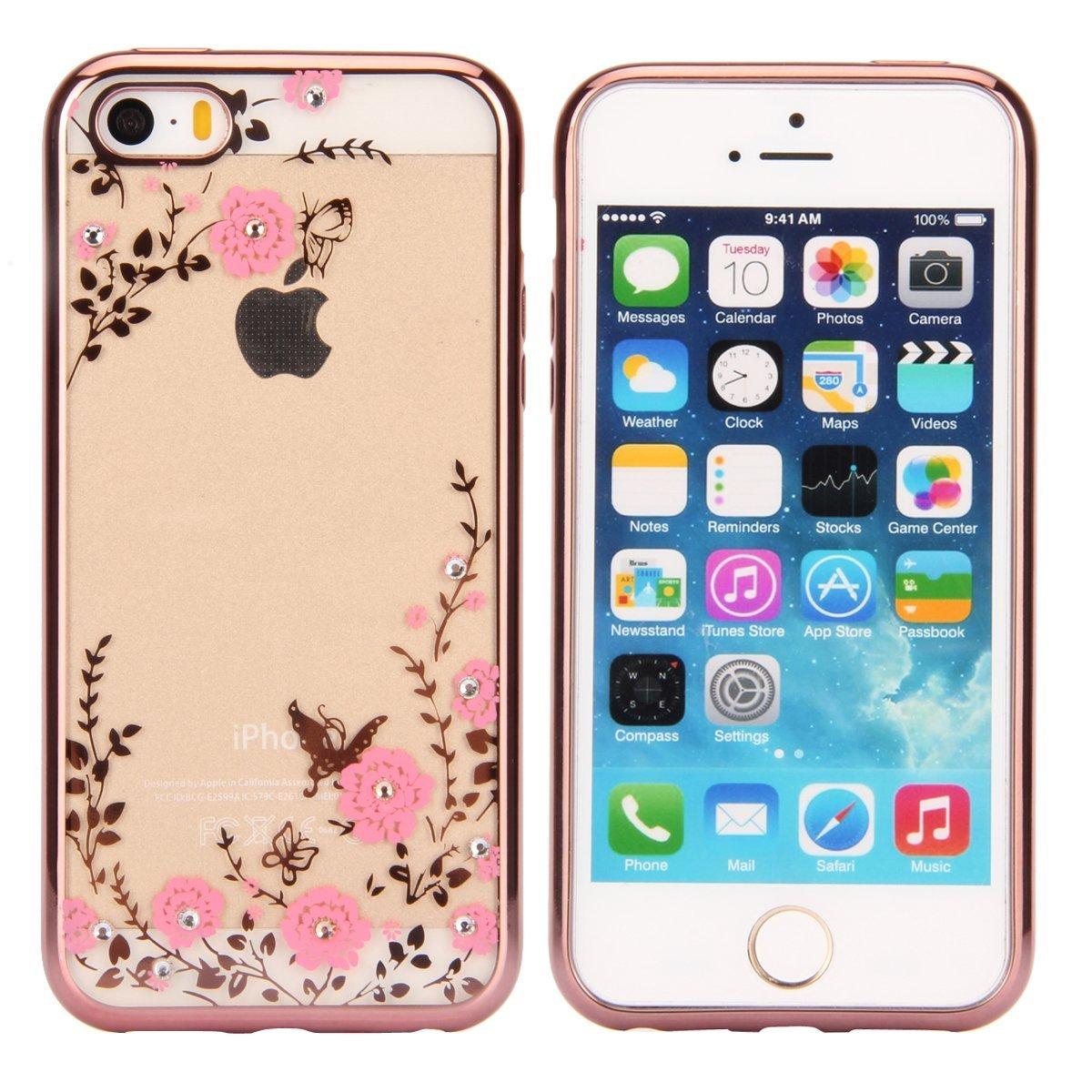 Pouzdro Forcell Diamond Case iPhone SE/5s/5 - Růžově zlatá