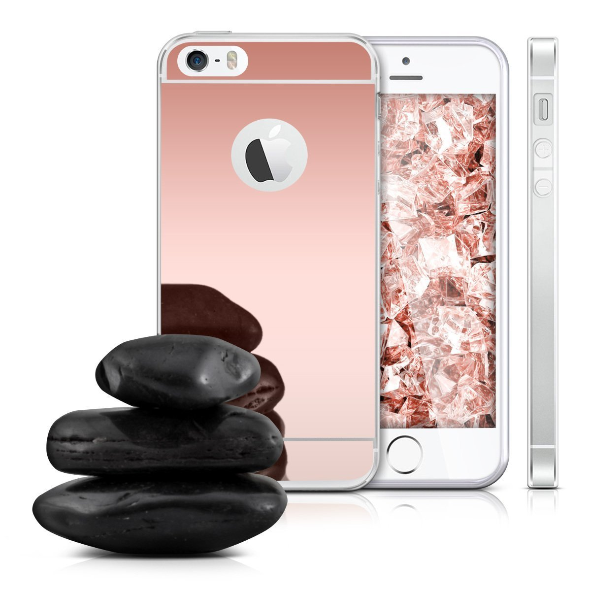 Zrcadlový kryt My Mirror pro iPhone SE / 5s / 5 - Růžově zlatý (rose gold)