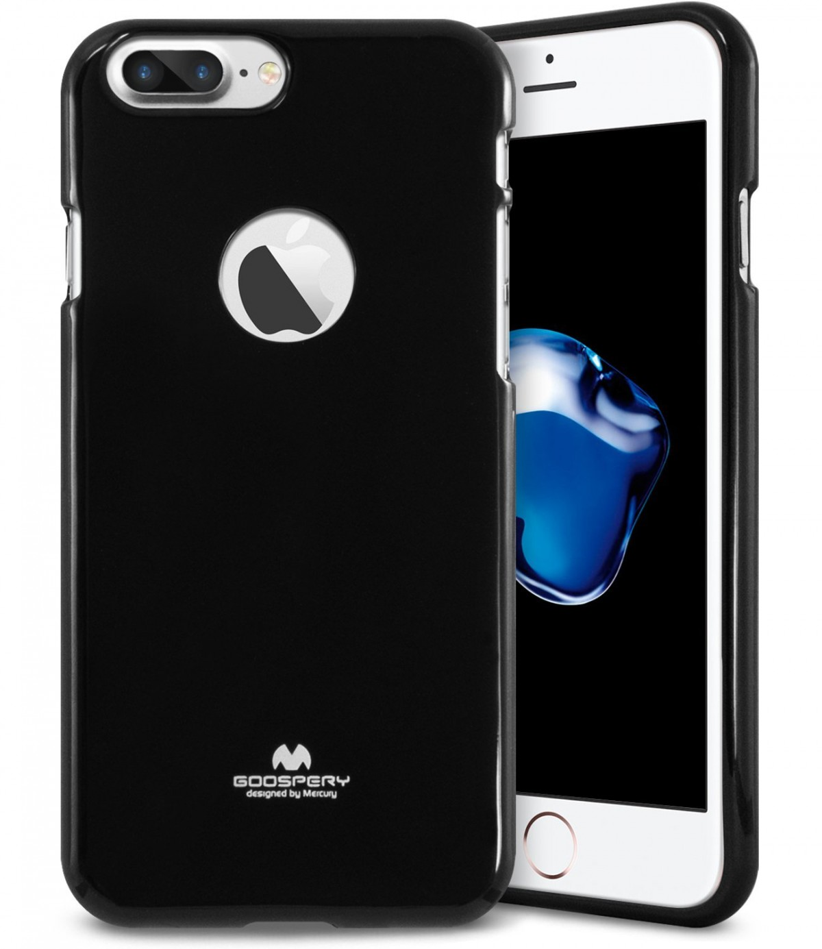 Silikonový obal / kryt Goospery Mercury pro Apple iPhone 8 Plus - Černý / Jet Black