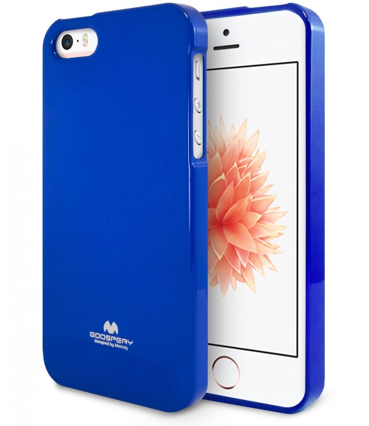 Silikonové obaly / kryty Goospery Mercury pro Apple iPhone SE / 5s / 5c / 5 - Jelly Case - Modrý / Blue