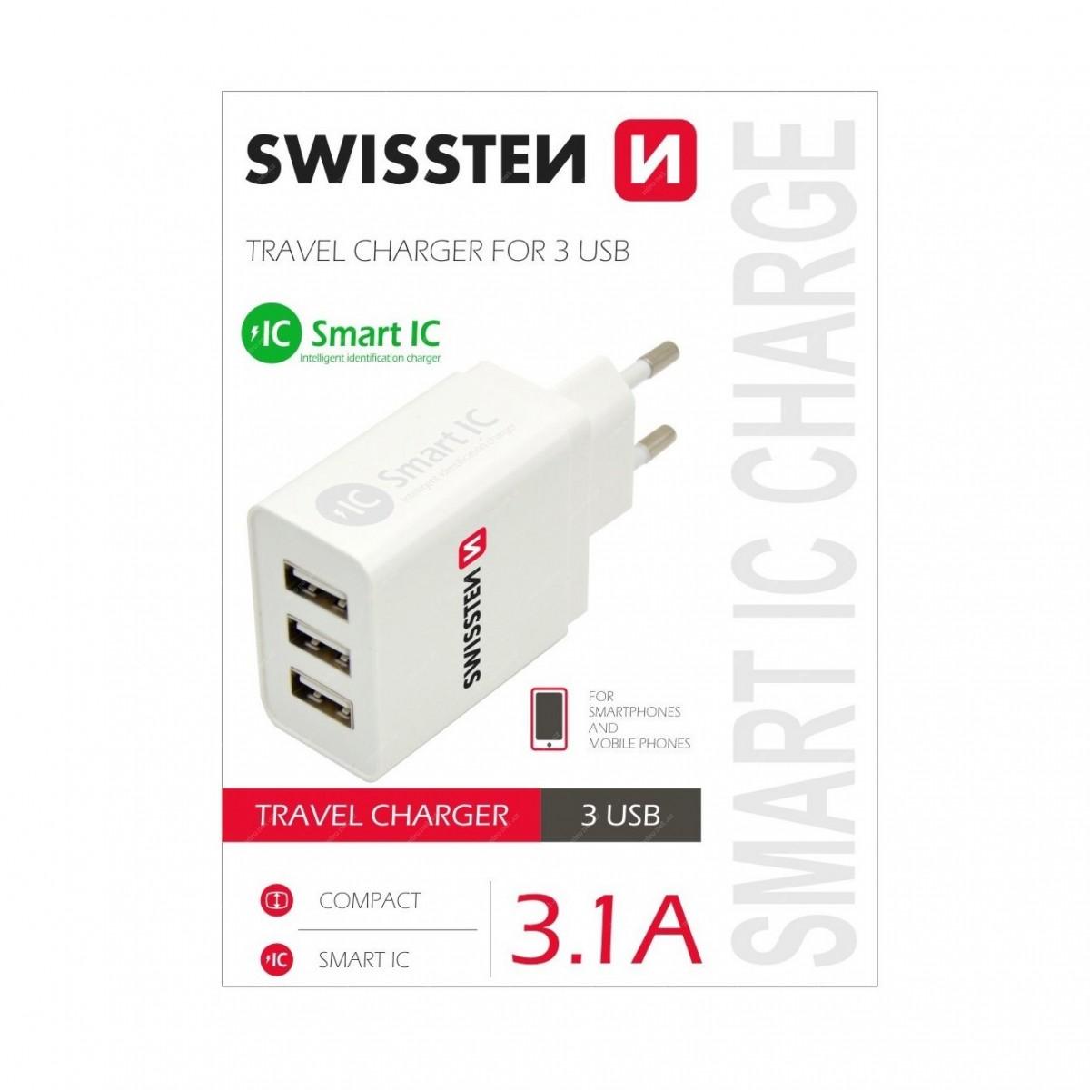 Swissten síťový adaptér Smart IC 3x USB 3,1A