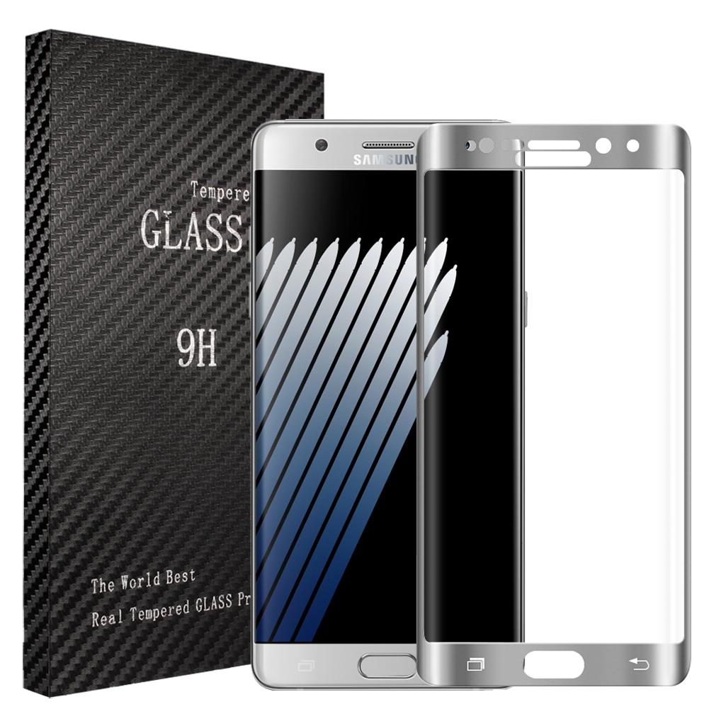 3D tvrzené sklo 9H pro Samsung Galaxy Note 7 - Stříbrné (silver)