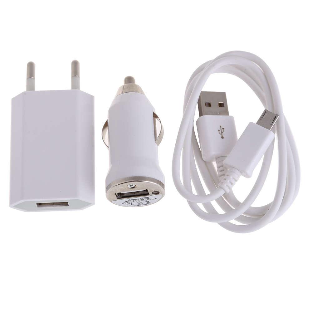Univerzální nabíjecí sada 3v1: Nabíječka + nabíječka do auta + micro USB kabel