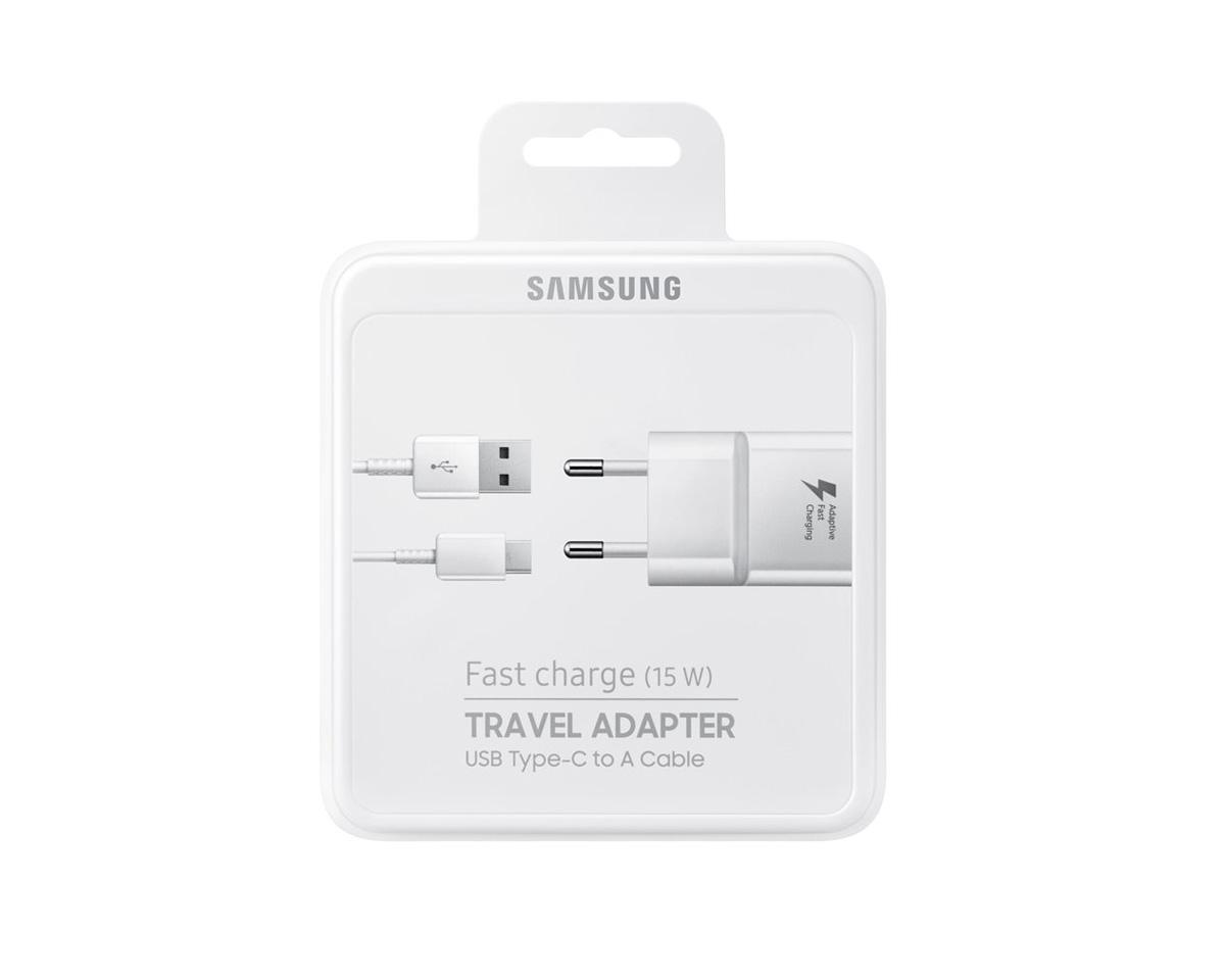 Nabíječka Samsung EP-TA20EBE 15W + USB Type-C kabel - BÍLÁ
