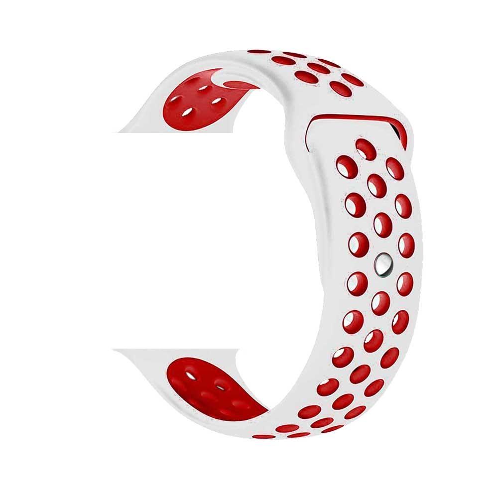 Řemínek SPORT pro Apple Watch Series 3/2/1 42mm - Bílý/Červený