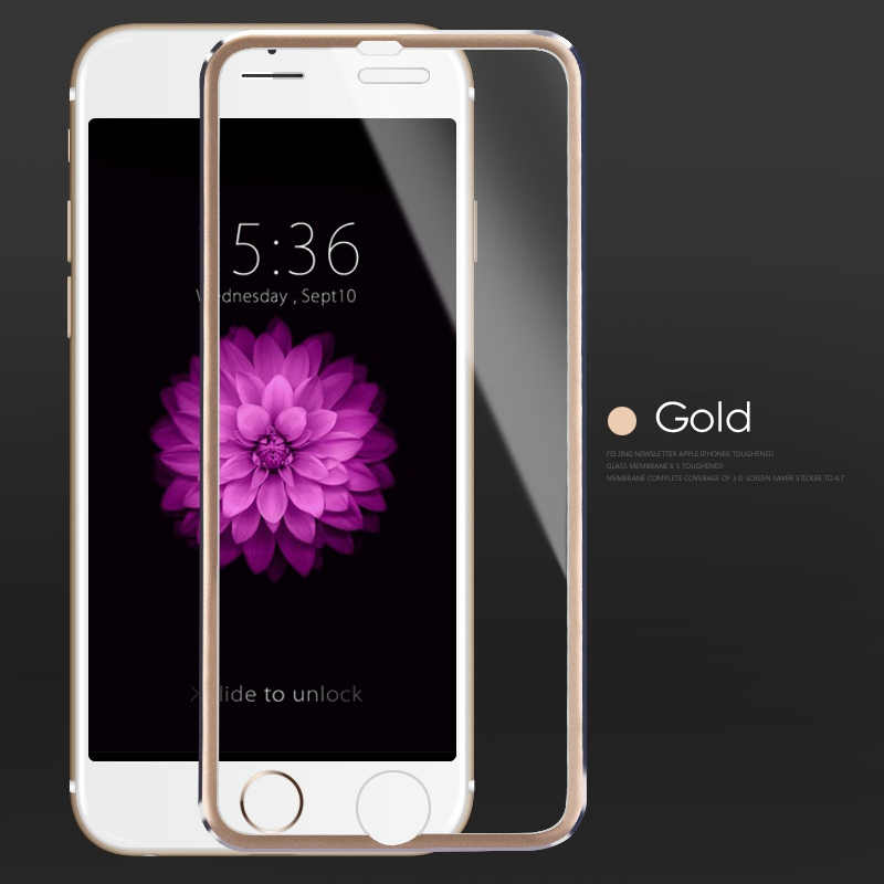 3D Tvrzené sklo Ring pro iPhone 6s/6 - Zlaté (gold)