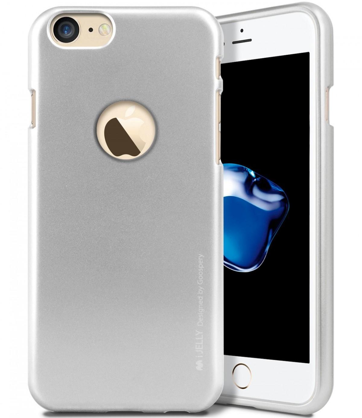 Silikonový kryt iJelly Metal Goospery Mercury Apple iPhone 8 / 7 - Stříbrný