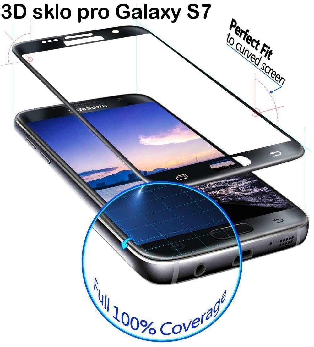 3D zakřivené tvrzené sklo 9H pro Samsung Galaxy S7 - Černé (black)