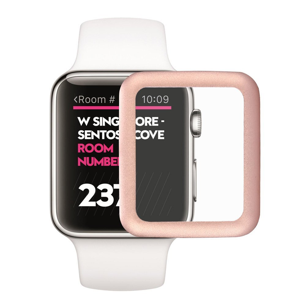 3D sklo Titanium pro Apple Watch / Series 1, 2 (42mm) - Růžově zlaté (rose gold)