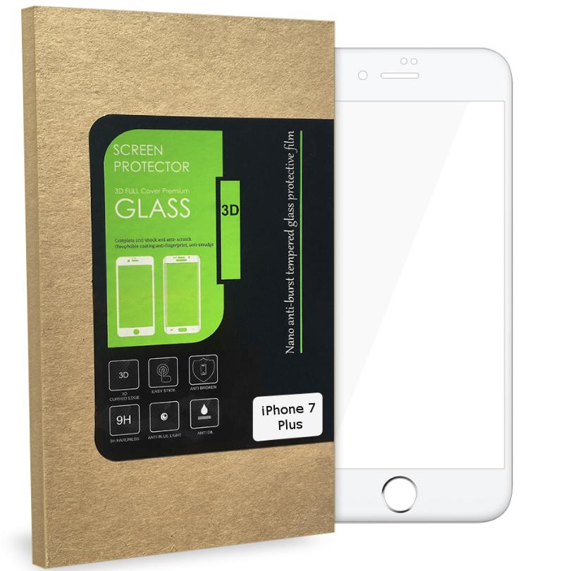Ochranné tvrzené sklo FIXED pro iPhone 7 Plus přes celý displej, bílé