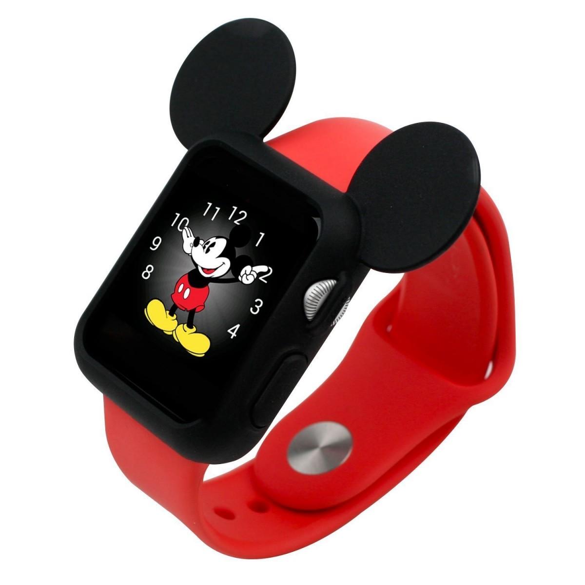 Silikonový kryt iMore Cartoon Mickey Apple Watch, Series 1, 2, 3 - 42mm, černý