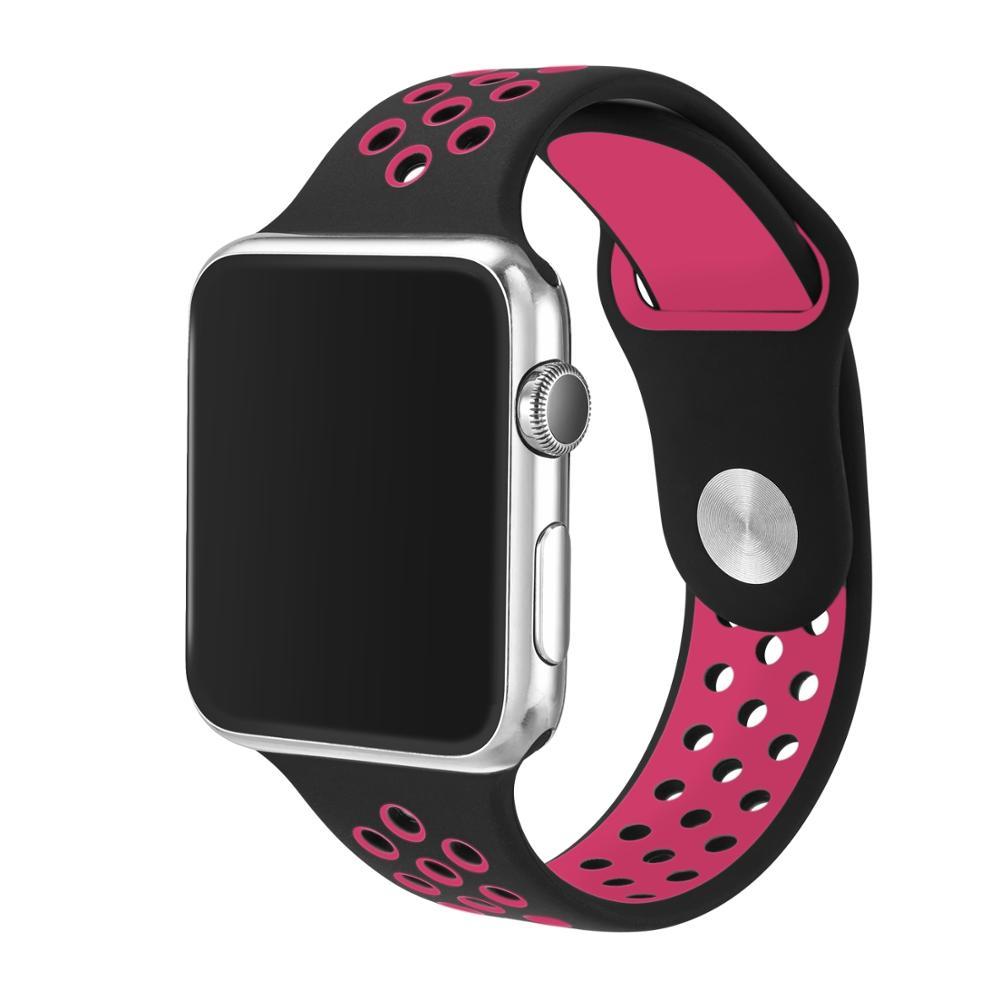 Řemínek SPORT pro Apple Watch Series 3/2/1 38mm - Černý/Růžový