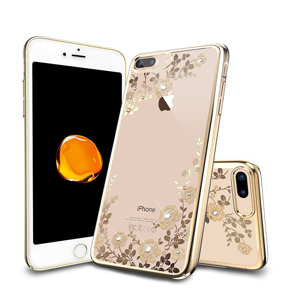 Obal / kryt Crystal Flowers pro iPhone 8 Plus - Gold