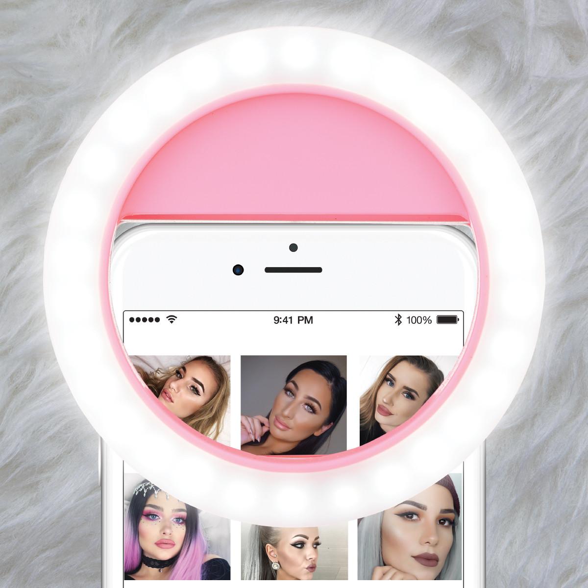 Selfie Light Selfie LED světlo RING LIGHT na mobilní telefony - nabíjecí - Růžové (pink)