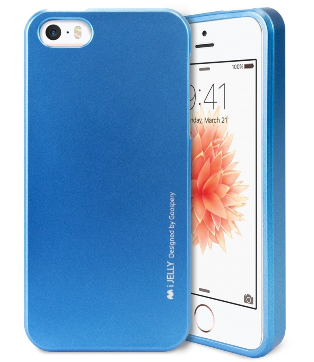Silikonový obal / kryt iJelly Metal Goospery Mercury Apple iPhone SE / 5s / 5 - Metalicky modrý