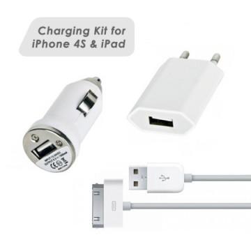 Nabíjecí sada 3v1 pro iPhone 4s /4 / 3G / 3GS