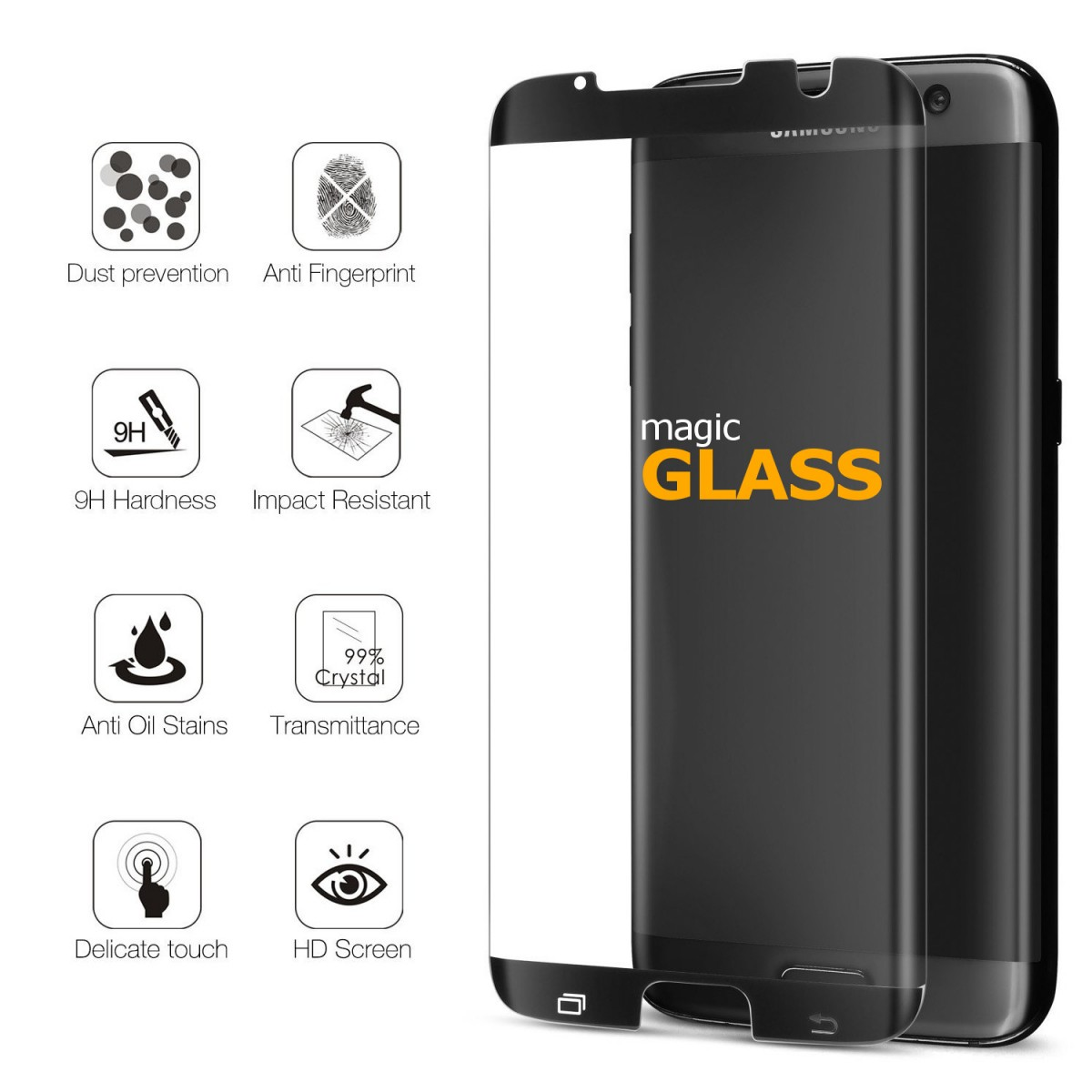 Ochranné 3D sklo Magic Glass Full Glue Galaxy S7 Edge - Černé (Case Friendly)