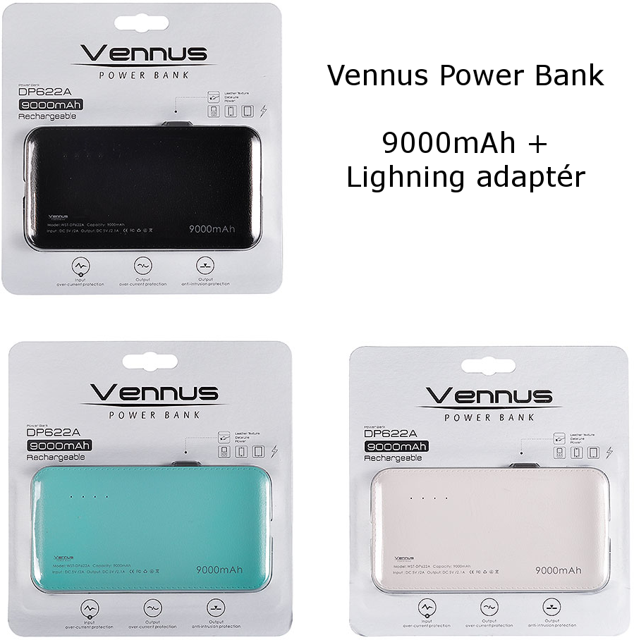 Power Banka Vennus DP622A 9000mAh + Lightning Adaptér - Mátová