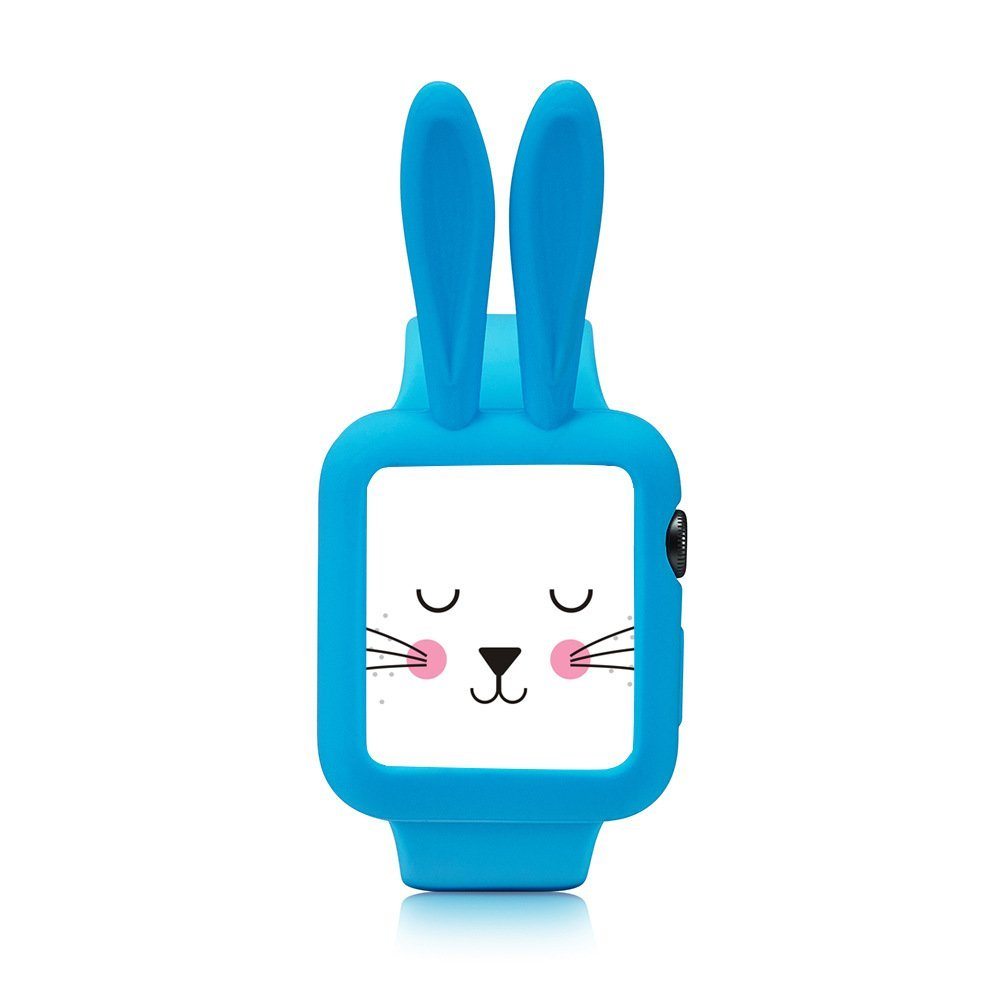 Obal Cartoon Rabbit na Apple Watch 42mm Series 1, 2, 3 - Modrý