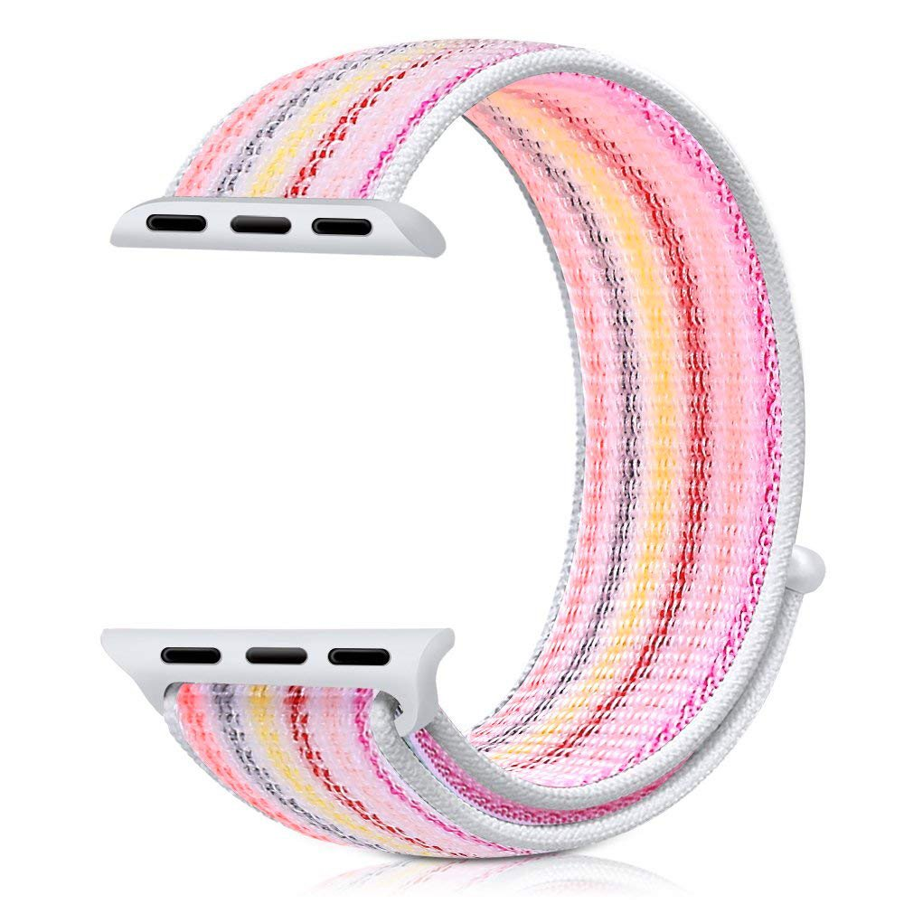 Řemínek NYLON STRIPES pro Apple Watch Series 4 (40mm) - Duhový růžový