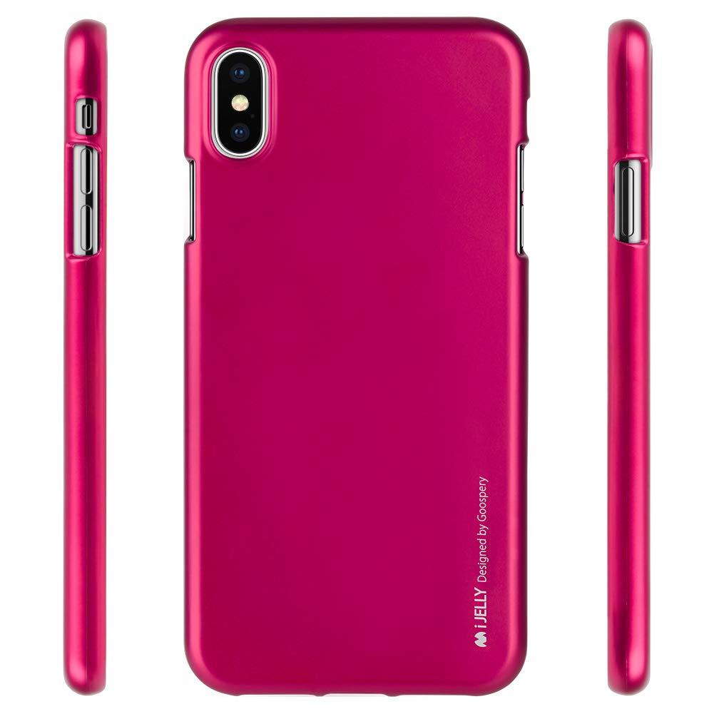 Pouzdro Goospery i-Jelly Metal iPhone XS MAX - Tmavě růžové