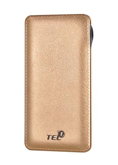 Externí baterie / Power Banka TEL1 Slim 12 000mAh, 2x USB, LED - Zlatá