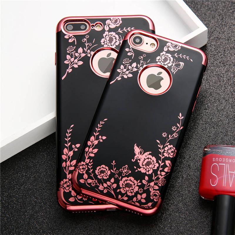 Obal / kryt Flower Garden pro iPhone 8/7 - Černý