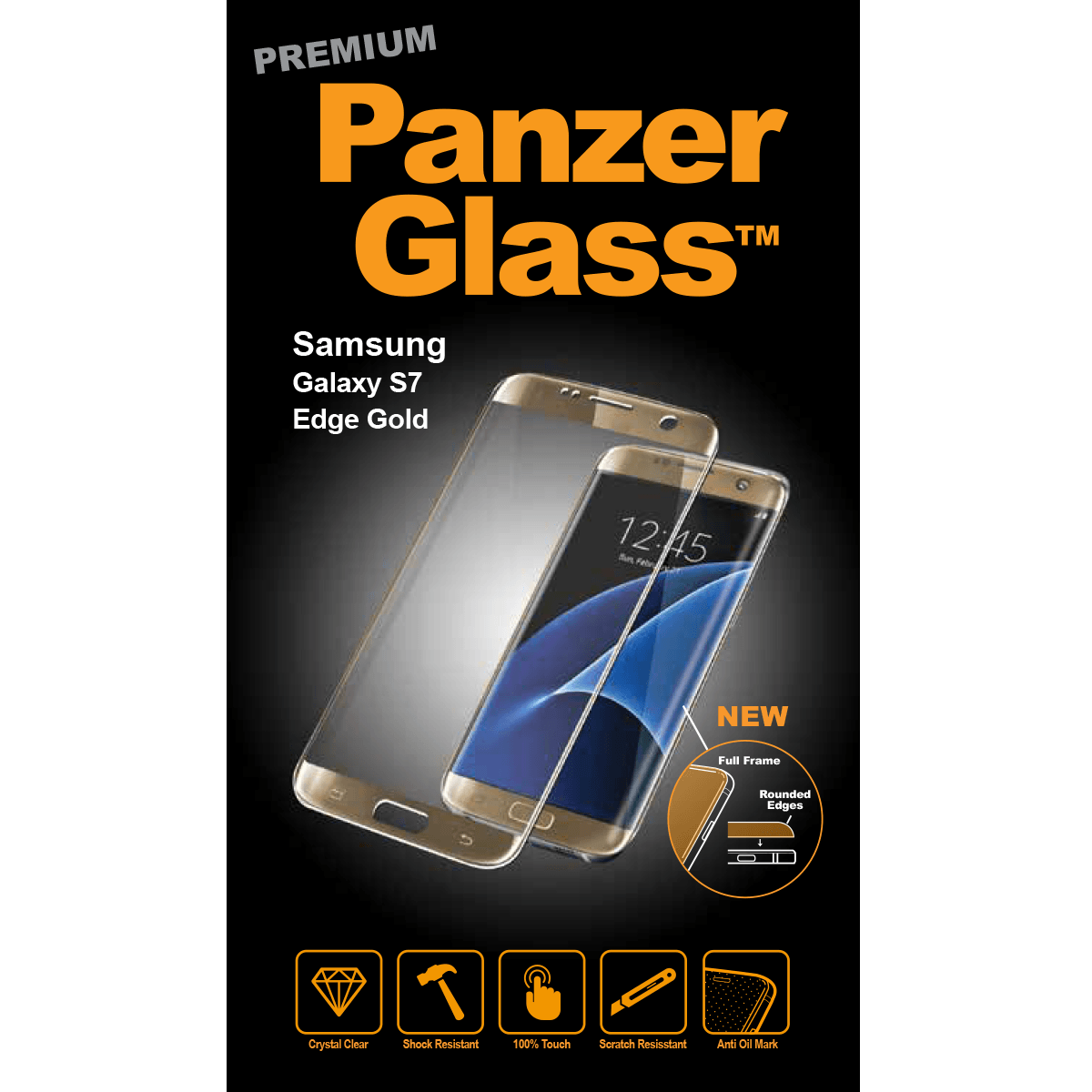 Ochranné sklo PanzerGlass PREMIUM Full Frame na Samsung Galaxy S7 Edge - ZLATÉ
